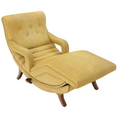 Yellow Upholstery Super Clean Original Condition Adjustable Lounge Chair