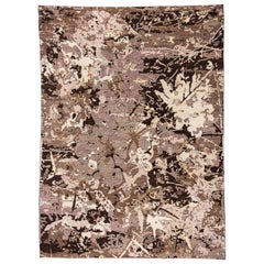 Abstract and Contemporary Brown Afghan Carpet, Modern