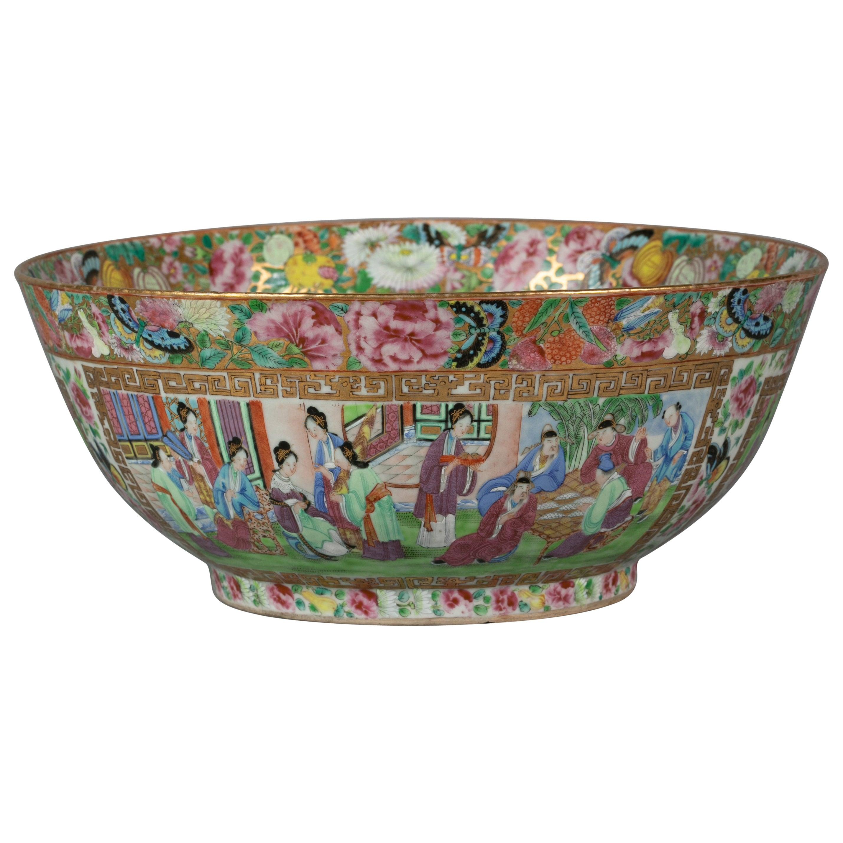 Chinese Export Rose Mandarin Porcelain Bowl, circa 1820