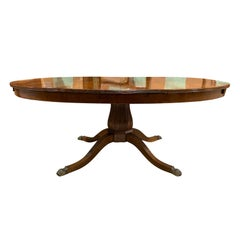 19th Century Continental Fluted Pedestal Oval Pedestal Dining Table, One Leaf