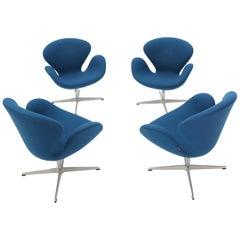 Set of Four Blue Boiled Wood Upholstery Swan Chairs Arne Jacobsen Fritz Hansen