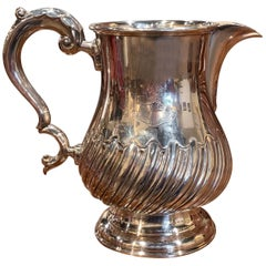 Early 20th Century English Silver Plated Pitcher with Engraved Crest