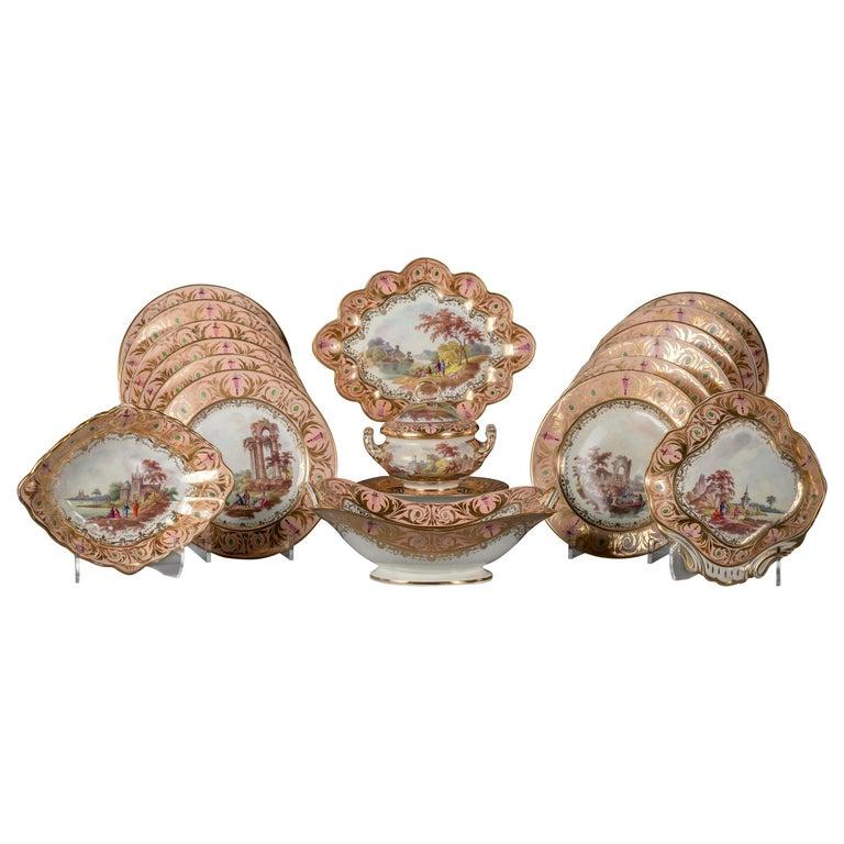 English Porcelain Peach-Ground Dessert Service, Derby, circa 1820 For Sale