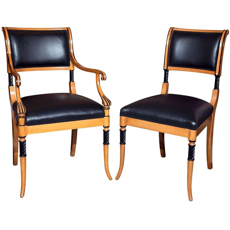 Set of Ten Regency Style Dining Chairs For Sale