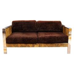 Mid-Century Modern Adrian Pearsall Chrome & Cork Loveseat 1970s Baughman Style