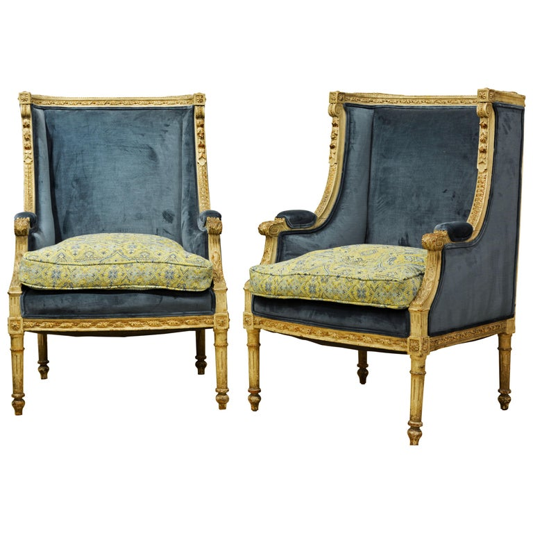 Pair of Late 19th Century, Louis XVI Style Carved and Painted Bergères For Sale