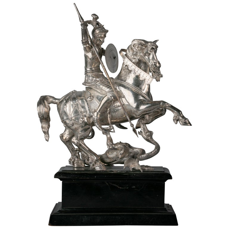Continental Silver Figural Group of St. George and the Dragon, circa 1860 For Sale