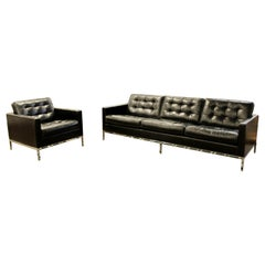 Mid Century Modern Vintage Knoll Chrome Sofa & Armchair Black Tufted Leather