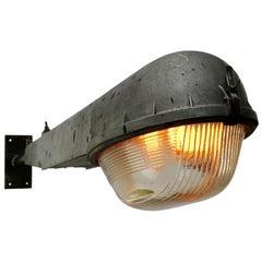 Gray Cast Aluminum Vintage Industrial Holophane Glass Street Wall Light