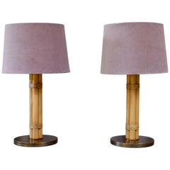 Pair of Swedish Brass and Bamboo Table Lamps by Bergboms, 1960s