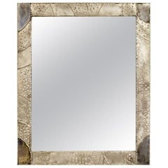 Modernist Brutalist Aluminum Rectangular Wall Mirror Argente Evans Style