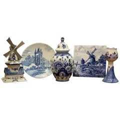 Early 20th Century Dutch Blue and White Delft Faience Pieces, Set of Five