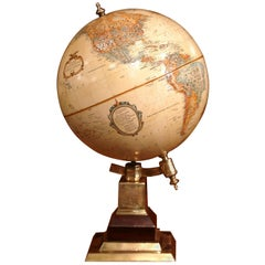 Late 20th Century American Terrestrial Globe on Brass Base by Leroy M. Tolman