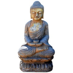 Gilt Stone Buddha Statue, Hand Carved