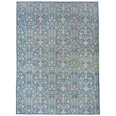 Teal Modern Victorian Afghan Carpet, Floral Field