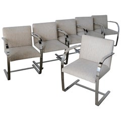 Set of Six Knoll Brno Flat Bar Dining Chairs Mies Van Der Rohe