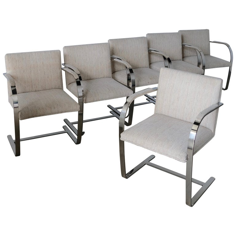 Set of Six Knoll Brno Flat Bar Dining Chairs Mies Van Der Rohe For Sale