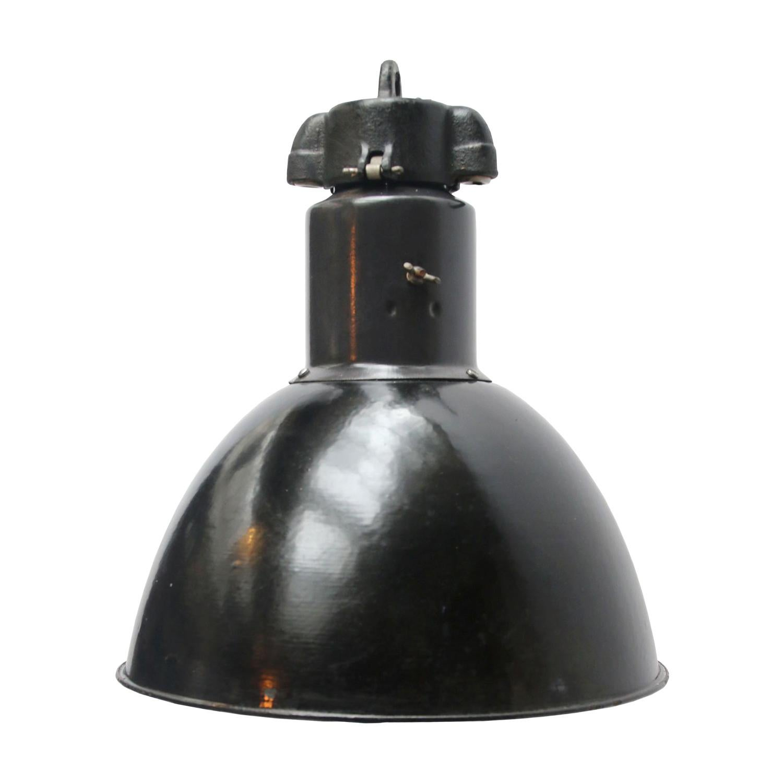 Black Enamel Bauhaus 1930s Vintage Industrial Pendant Lights
