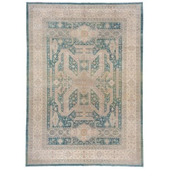 Urban Hand Knotted Afghan Carpet, Teal and Green