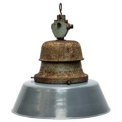 Blue Gray Enamel Vintage Industrial Cast Iron Train station Pendant Lamps