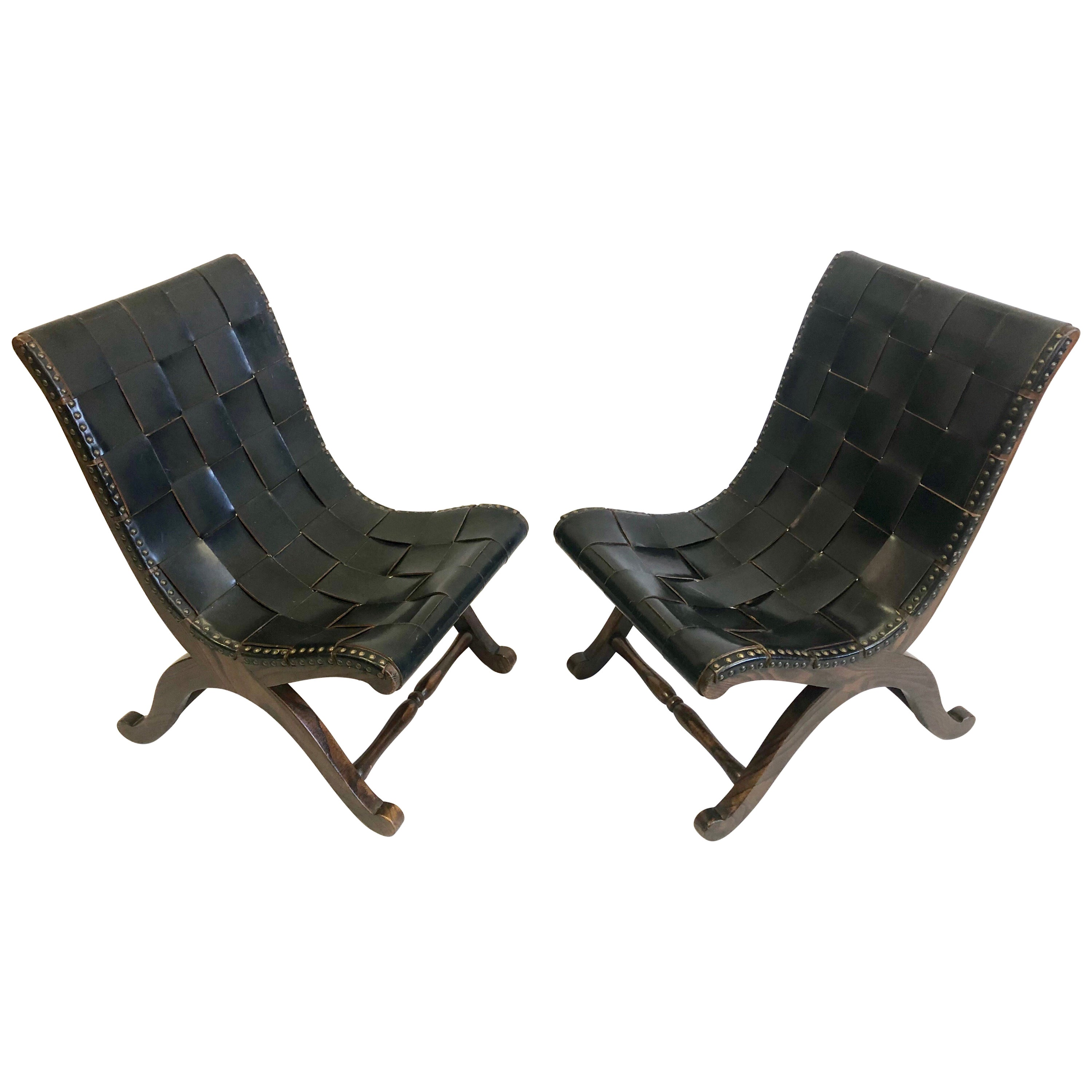 Pair of Modern Neoclassical Black Leather Strap Chairs Attributed Pierre Lottier