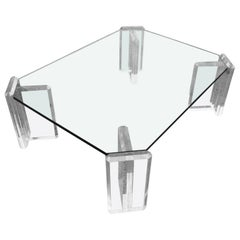 Karl Springer Style Coffee Table with Lucite Block Legs and Glass Top