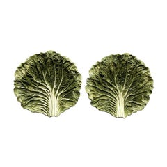 Green Cabbage Ware Majolica Style Table Top Plates Entertaining a Pair 1950s