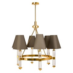 Jacques Lucite and Brass Six-Arm Chandelier
