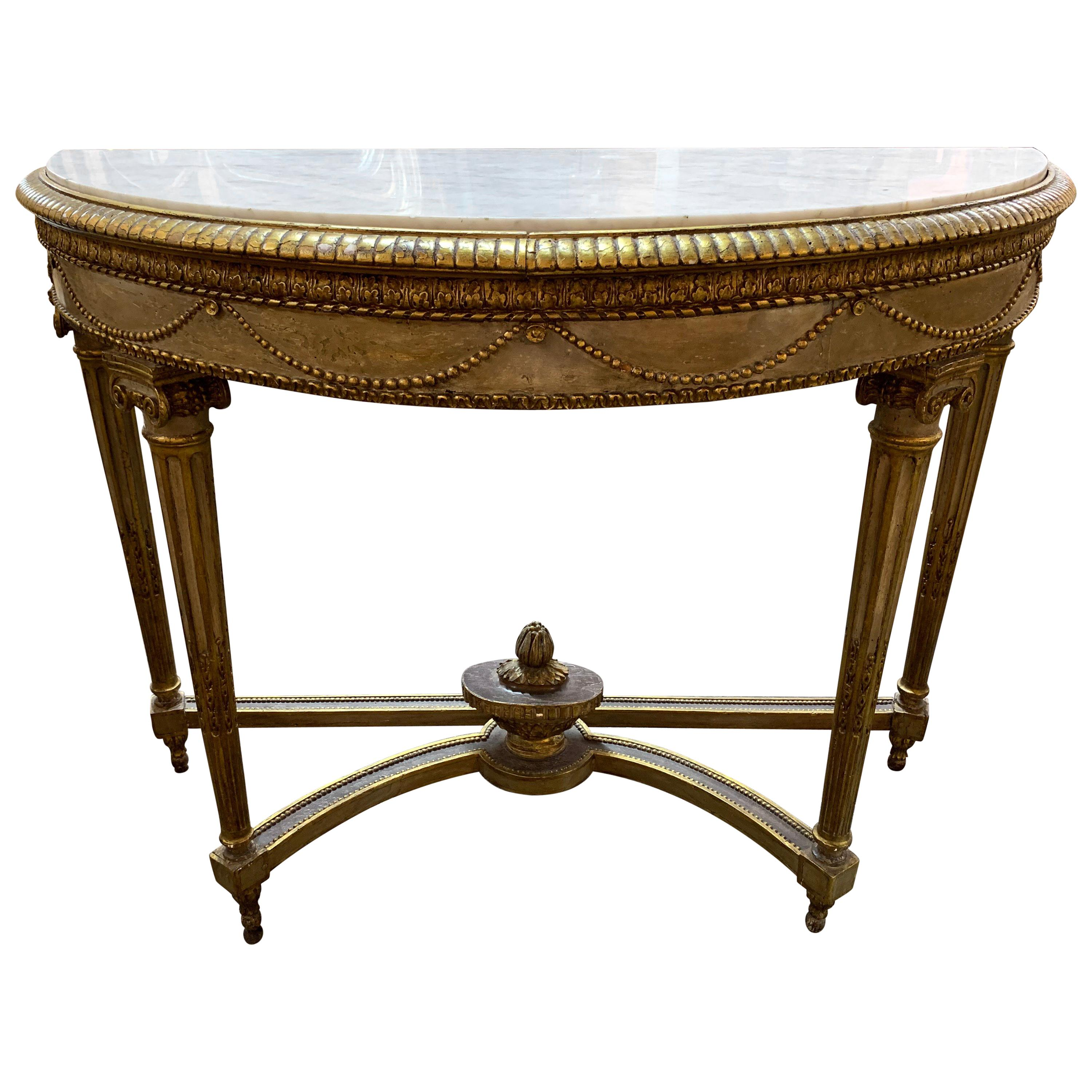 19th Century French Louis XVI Carved Parcel Gilt Console Table