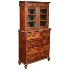 19th Century British Colonial Rosewood Display Cabinet