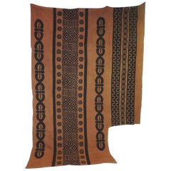 Large Brown and Camel Color African Hand-Blocked Mudcloth Textile Panel