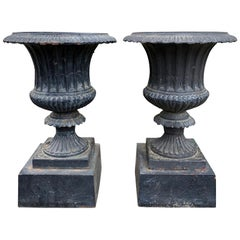 Pair of Neoclassical Iron Urns with Stands, circa 1900