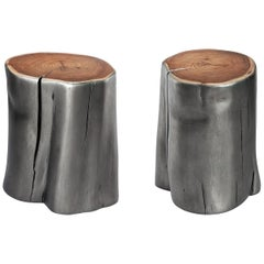Pair of Handcrafted Natural Stumps in Metallic Finish