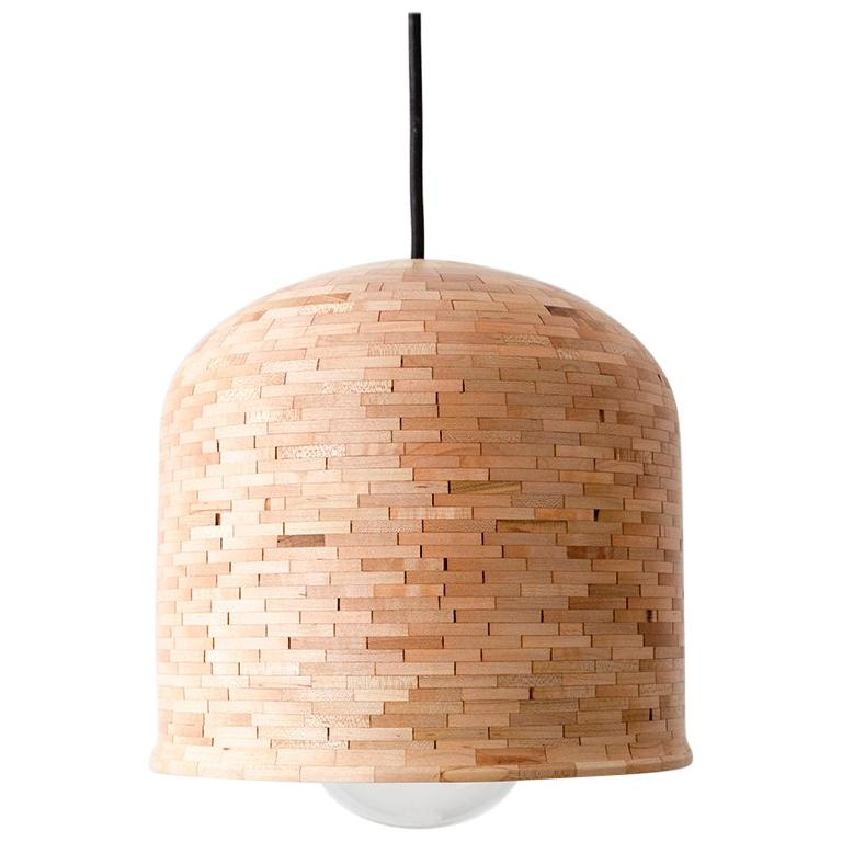 STACKED Squat Bell Pendant, by Richard Haining, shown in Maple, Customizable
