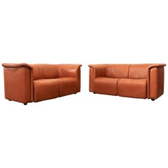 "Karl Wittman Caramel Leather ""Hochbarett"" Loveseat"