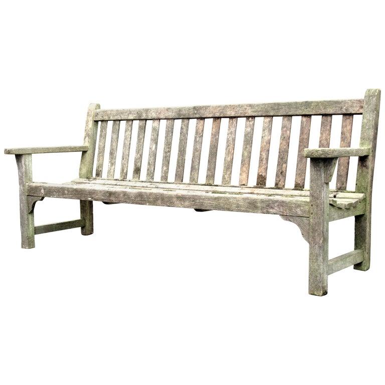 Old Weathered Teak Slat Back Long Garden Bench For Sale