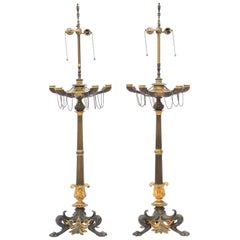 Pair of Regency Patinated Bronze and Ormolu Candelabra Lamps