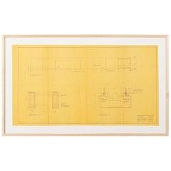 Original Mies van der Rohe Blueprint from 1964, Illuminated Wall Details