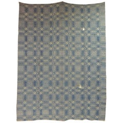 Vintage Americana Style Blue and White Woven Coverlet