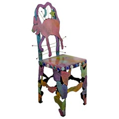 Contemporary Modern Hand Painted Metal Art Side Accent Chair Cat Star Moon 1990s