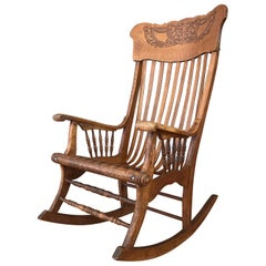 Unusual 20th Century Oak Rocking Chair