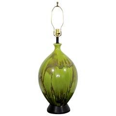 Mid-Century Modern Green Ceramic Drip Glaze Large Table Lamp Brass Finial, 1970s