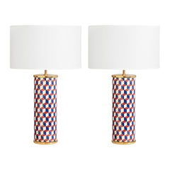 Carnaby Red and Blue Porcelain Table Lamp