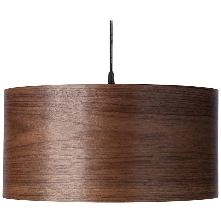 CANNEA Custom Walnut Wood Drum Chandelier Pendant For Sale