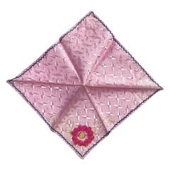 Silk Hand Stitched Pink Floral Dinner Napkins or Hankies Set of 8