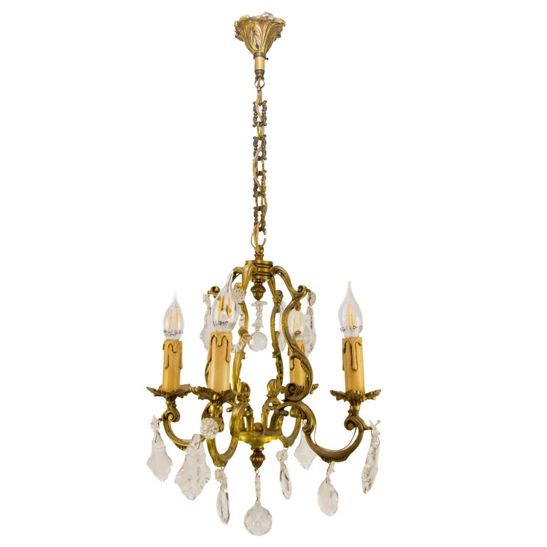 Louis XV Style Bronze and Crystal Four-Light Chandelier For Sale