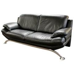 Contemporary Modern Chrome Sofa Black Leather Roche Bobois, 1980s
