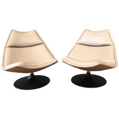 Pair of Geoffrey Harcourt for Artifort F511 Leather Swivel Lounge Chairs, 1970s