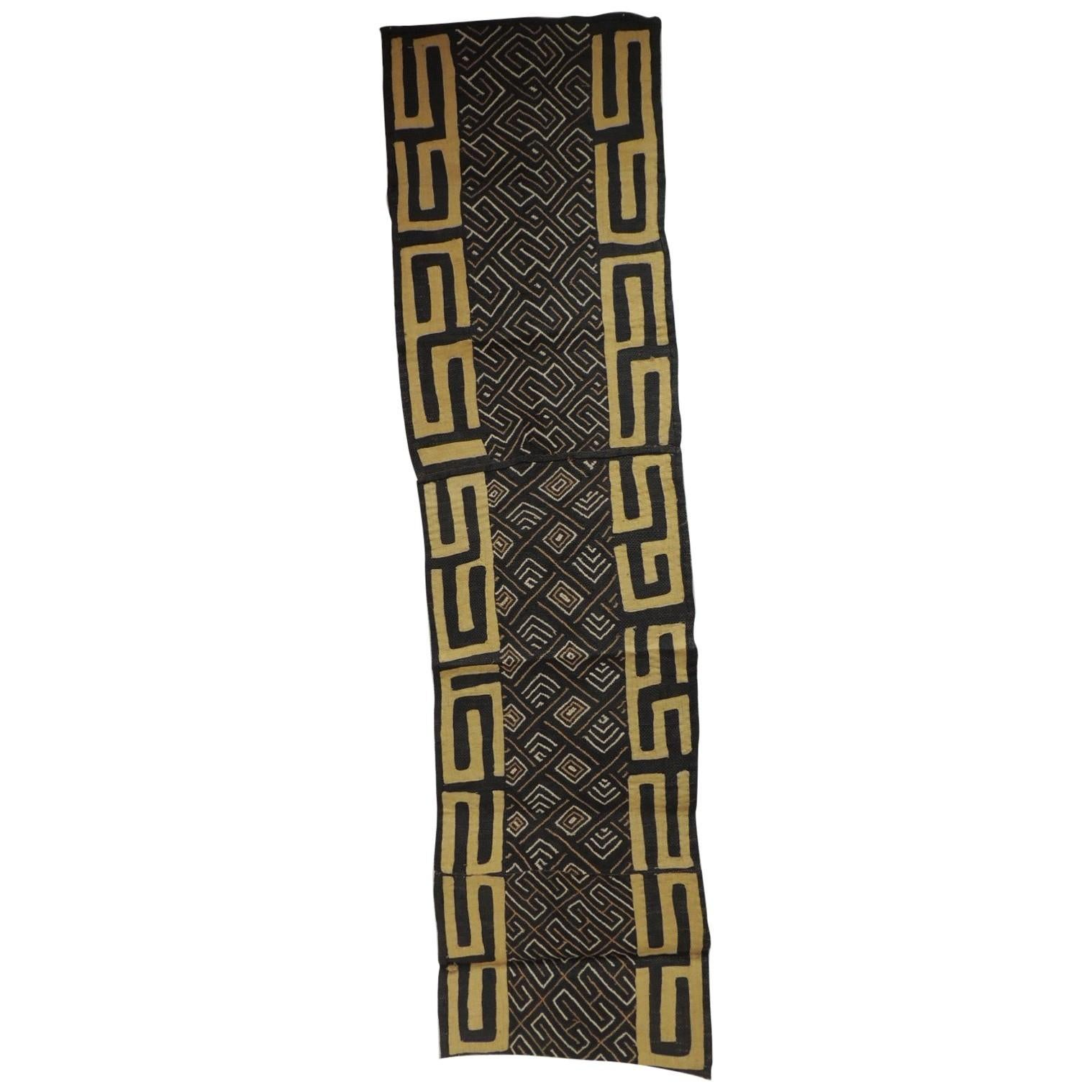 Vintage Yellow and Black African Applique Kuba Textile