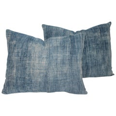Blue 19th Century Linen Pillows, Pair